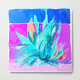 Agave From Toledo, Spain ABSTRACT AQUA & HOT PINK Metal Print