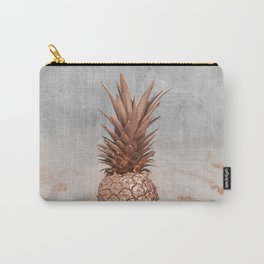 Pineapple in Glitter Marble Rose Gold And Concrete Carry-All Pouch
