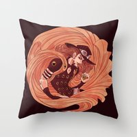 jjba Throw Pillows featuring spin by vvisti