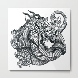 Coiled Dragon Metal Print