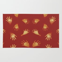 Primitive Art Hands Motif Pattern Rug