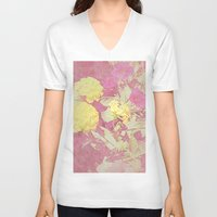 vintage floral V-neck T-shirts featuring Floral by ieIndigoEast