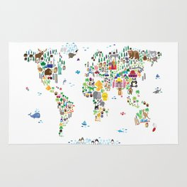 Animal Map of the World for children and kids Rug