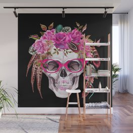 Femme Fatale With Rose Floral Crown Retro 50s Pink Glasses Floral Kingdom Wall Mural