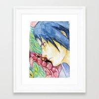 sasuke Framed Art Prints featuring Sasuke Watercolor by Vouschtein