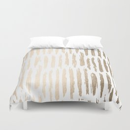 White Gold Sands Vertical Dash Duvet Cover