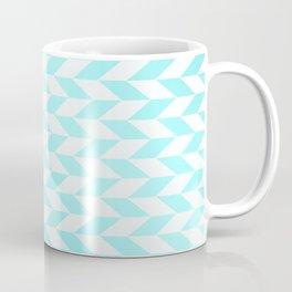 Geometrical Mint Blue White Abstract Stripes Coffee Mug