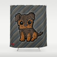 caleb troy Shower Curtains featuring Troy - Silky Terrier by Sylvester Pyke