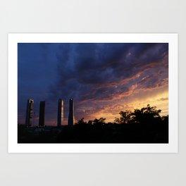 Sunset over Cuatro Torres, Madrid Art Print
