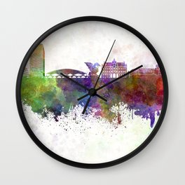 Ljubljana skyline in watercolor background Wall Clock