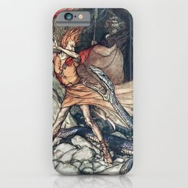Arthur Rackham - Wagner's The Rhinegold & the Valkyries (1910) - Horrible dragon, Swallow me not! iPhone Case