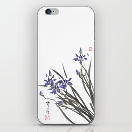 Blue Iris Orchid One iPhone Skin