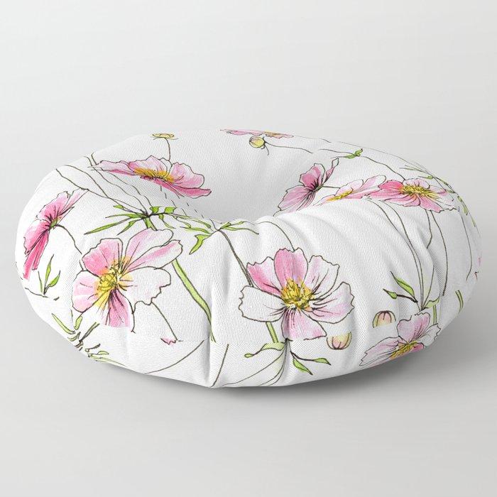 Pink Cosmos Flowers Floor Pillow