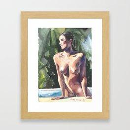 Original erotic watercolor painting NUDE GIRL POSING By the pool Framed Art Print