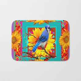 Decorative Colorful  Ornate Red-Blue Jay Sunflowers Bath Mat