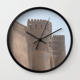 Yazd City Gate Towers Castle, Persia, Iran Wall Clock