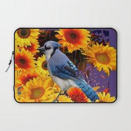 MODERN BLUE JAY &  SUNFLOWERS PURPLE ART Laptop Sleeve