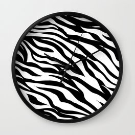 modern safari animal print black and white zebra stripes Wall Clock
