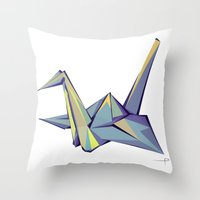 origami Throw Pillows featuring Origami by Daniela Castillo