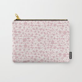 Pink floral with tonal lettering Carry-All Pouch