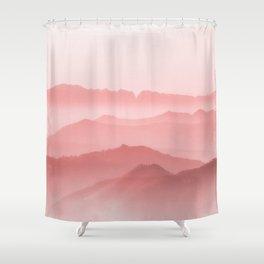 Pink Foggy Mountain Shower Curtain
