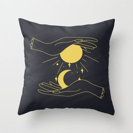 Moon Phases Print, Mystical Vector Clipart, Celestial And Mystery Symbol Throw Pillow