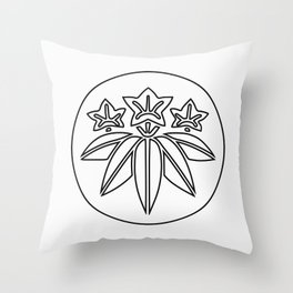 Minamoto Clan · Black Mon · Outlined Throw Pillow