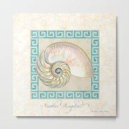 Greek Key Nautilus Seashell Botanical Shell w Striped Pattern Metal Print
