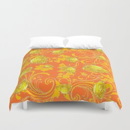 AWESOME CUMIN ORANGE & YELLOW ROSE SCROLLS  ART Duvet Cover