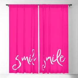 Smile- Funny Typography on simple pink background texture Blackout Curtain