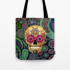 Sugar Skull Paisley Garden - Colorful Floral Sugar Skull Art Tote Bag