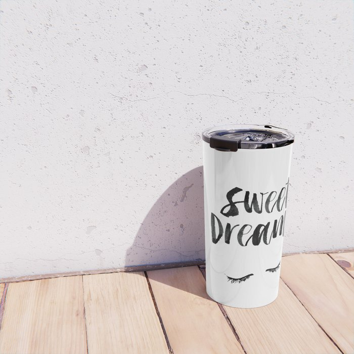 Sweet Dreams black and white contemporary minimalist typography poster home wall decor bedroom art Travel Mug