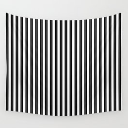 Small White and Jet Black Cabana Beach Perforated Stripes Wall Tapestry