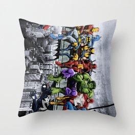 Superhero Lunch Meetup Throw Pillow
