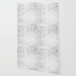 Modern silver stars geometric pattern Christmas white marble Wallpaper