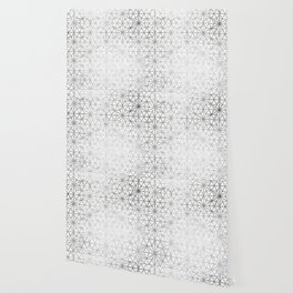Modern silver stars geometric pattern Christmas white marble Wallpaper