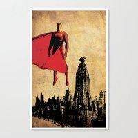 justice league Canvas Prints featuring Superman justice league by Edmond Lim
