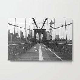 Brooklyn Bridge New York City Skyline Black and White Metal Print
