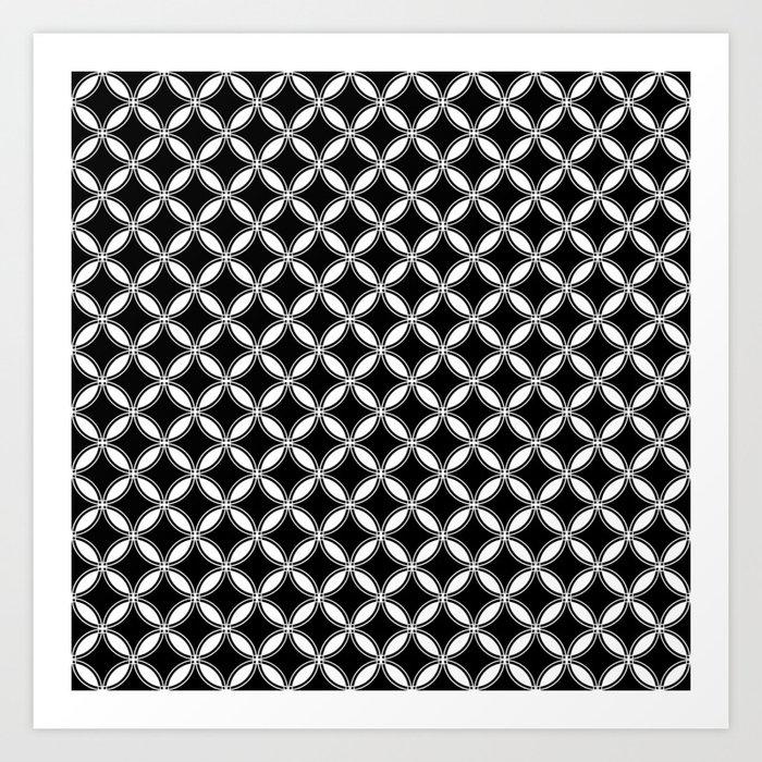 Small Black And White Interlocking Circles Art Print By Honorandobey