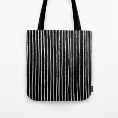 White Line Pattern on Black Tote Bag