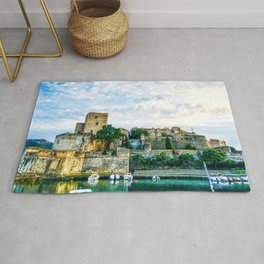 Castle | Boats at a Port South of France Collioure Incredible Medieval Scenic Views Rug