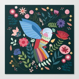 Folk Art Inspired Hummingbird With A Flurry Of Flowers Canvas Print