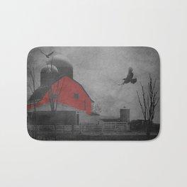 Rustic Red Barn Black White Country Home Decor Farmhouse Art A659 Bath Mat