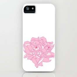Pink and White Peony Flower Summer Garden Illustrated Print iPhone Case