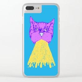 Cat Vomit - Purple Poot + Blue Background Clear iPhone Case