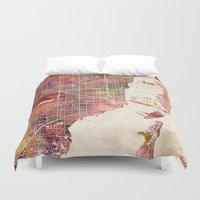 miami Duvet Covers featuring Miami by MapMapMaps.Watercolors