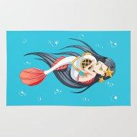 little mermaid Area & Throw Rugs featuring Mermaid by Freeminds