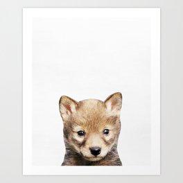 Wolf, Baby, Animal, ZOO, Nursery, Minimal, Modern, Wall art Art Print Art Print
