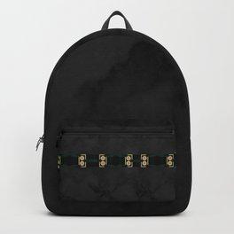 Black Gold Green Marble Mandala Abstract Backpack