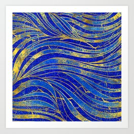 Lapis Lazuli and gold vaves pattern Art Print